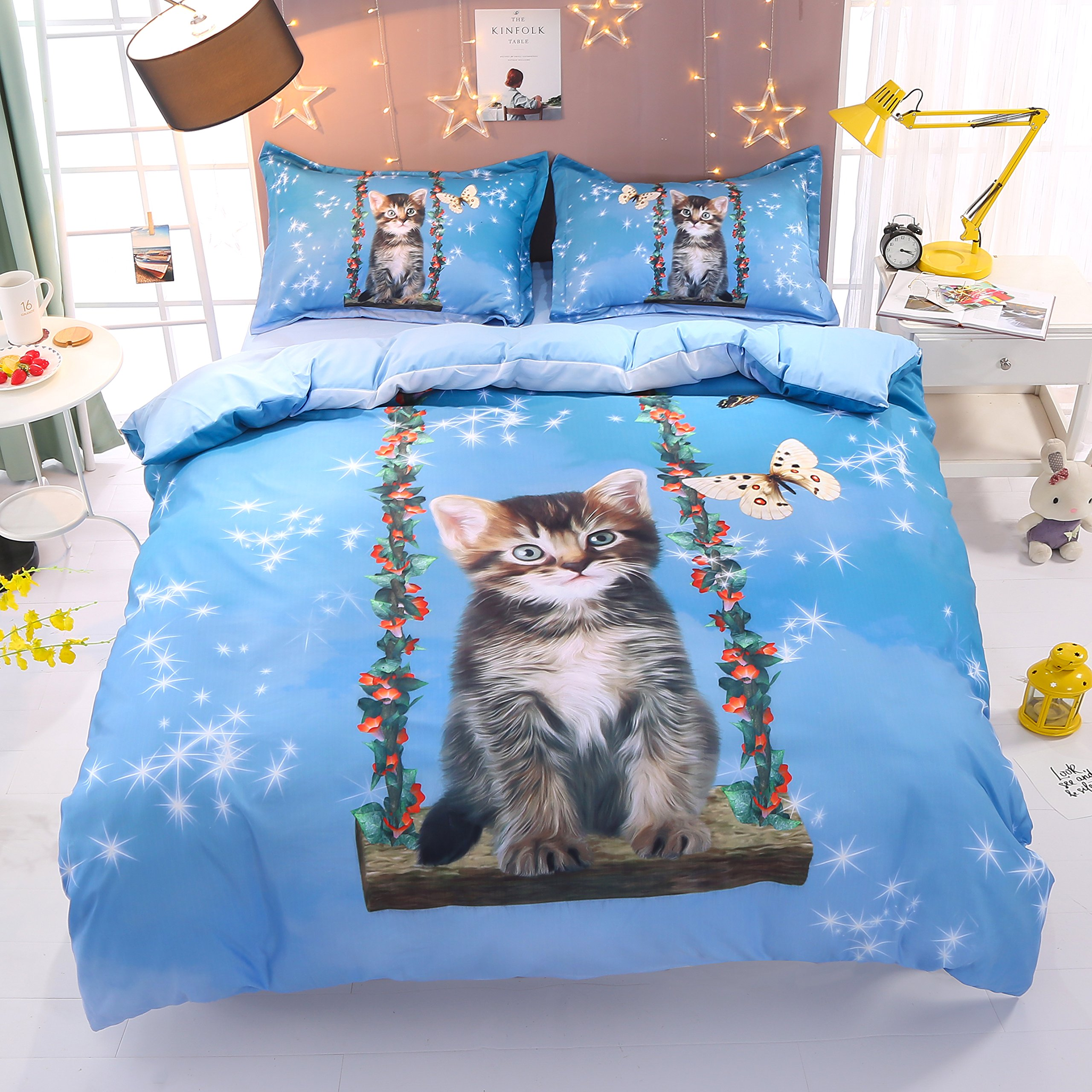 Beddinginn Cute Cat Swing Bedding Set Girls Loves 3d Duvet Cover Set Butterfly Print Girls Bed Set King Size by Beddinginn (Image #2)