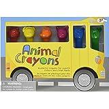 Animal Shaped Cool Character Crayons Box Of 12 Coloured Crayons