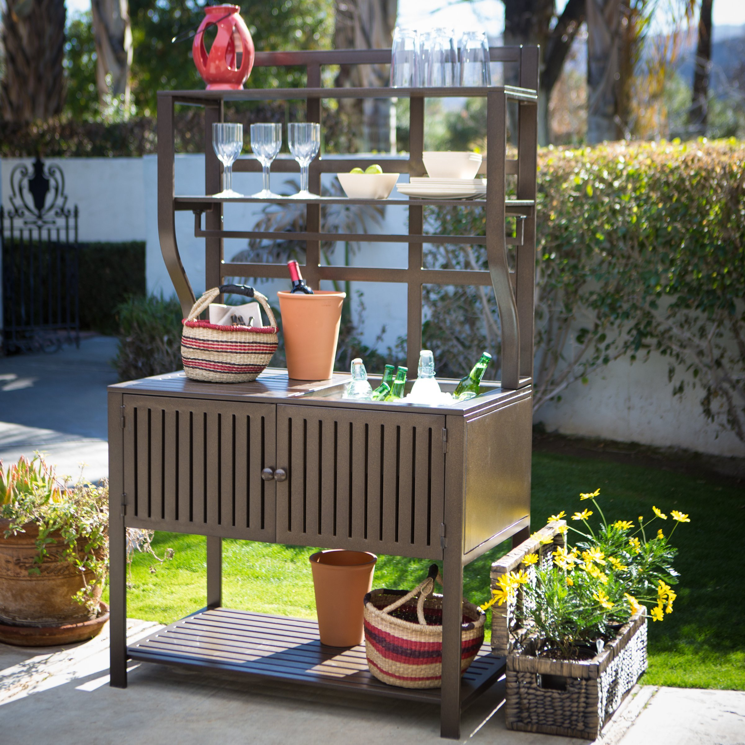 Contemporary Style, Modern Metal Chestnut Brown Finish Outdoor Potting Bench 42''W x 23''D x 72''H With Storage and 2 Slatted Shelves, 7 Hooks for Hanging Gardening Tools by Belham Living (Image #6)
