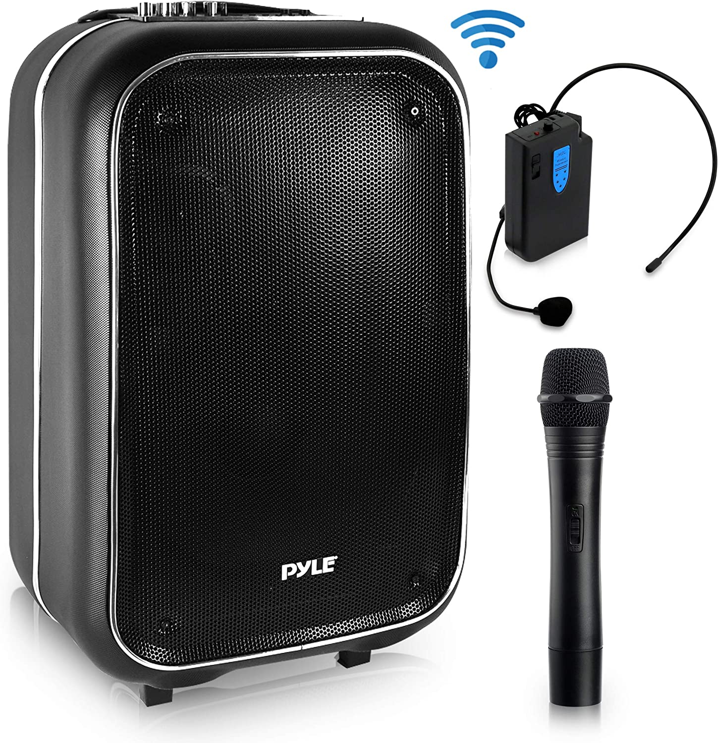 Wireless Portable PA Speaker System 400 W Battery Powered Rechargeable Sound Stereo Speaker and Microphone Set with Bluetooth MP3 USB Micro SD FM Radio AUX For Outdoor DJ Party Pyle PWMA825BT