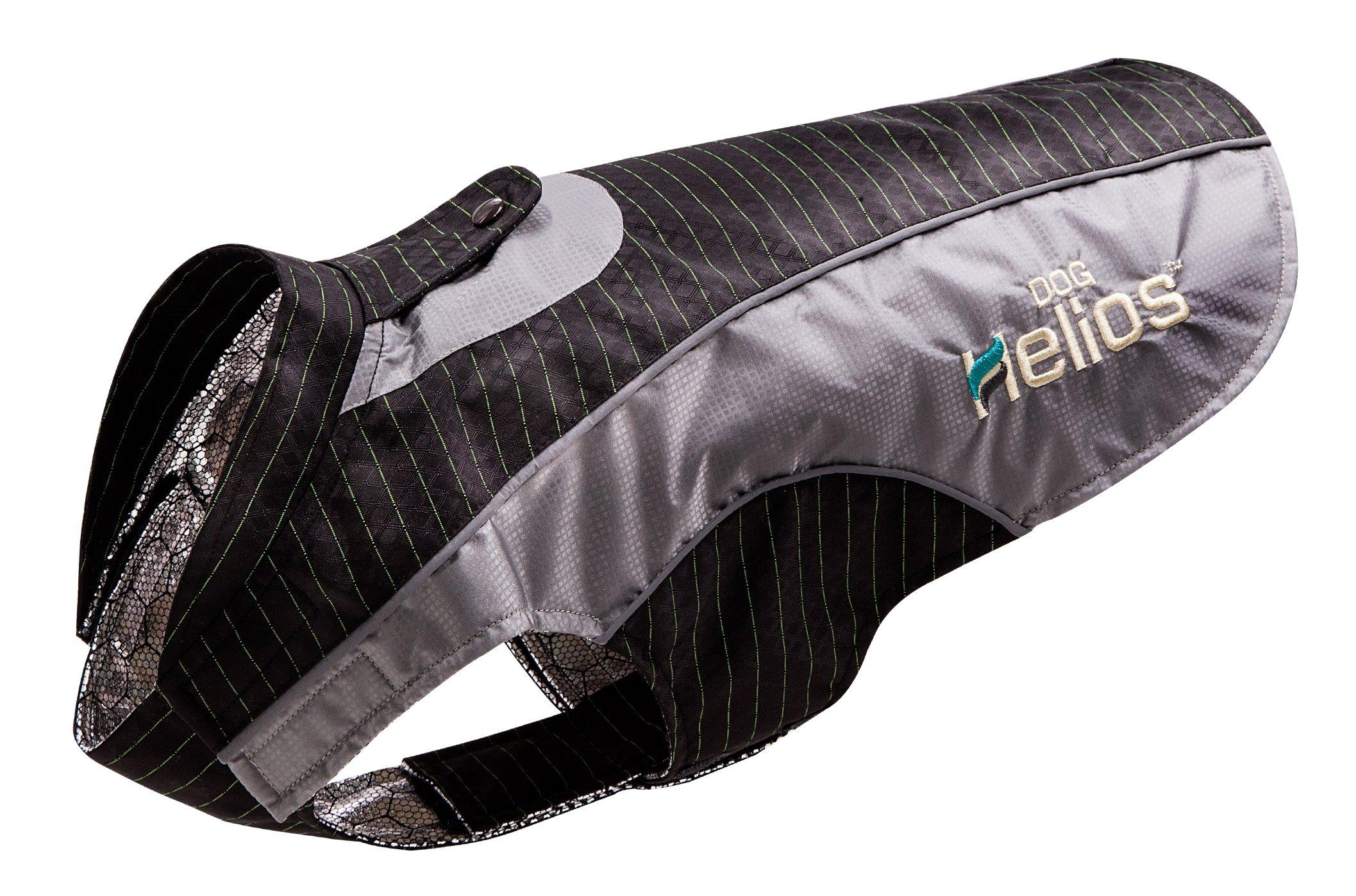 DOGHELIOS 'Reflecta-Bolt' Sporty Performance Fashion Tri-Velcro Reflective Pet Dog Coat Jacket w/ Body Heat Reflection Technology, X-Large, Black by DogHelios