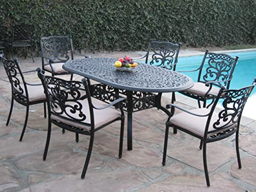 Outdoor Patio Furniture 7 Piece Aluminum Dining Set with 6 Arm Chairs DS-SA01-4272T