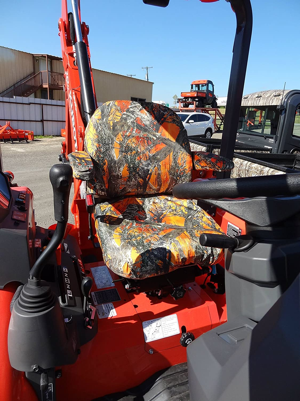 Durafit Seat Covers, KU05 MC2 Orange FOR KUBOTA TRACTORS  L45/M45 L48/M59 B25/B26 M108S LP MOWERS F2680/F2880/F3080/F3680 in Orange  Camo Endura