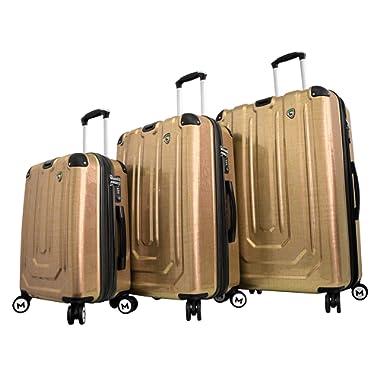 Mia Toro Luggage Macchiolina Polish Hardside Spinner 3 Piece Set, Gold, One Size