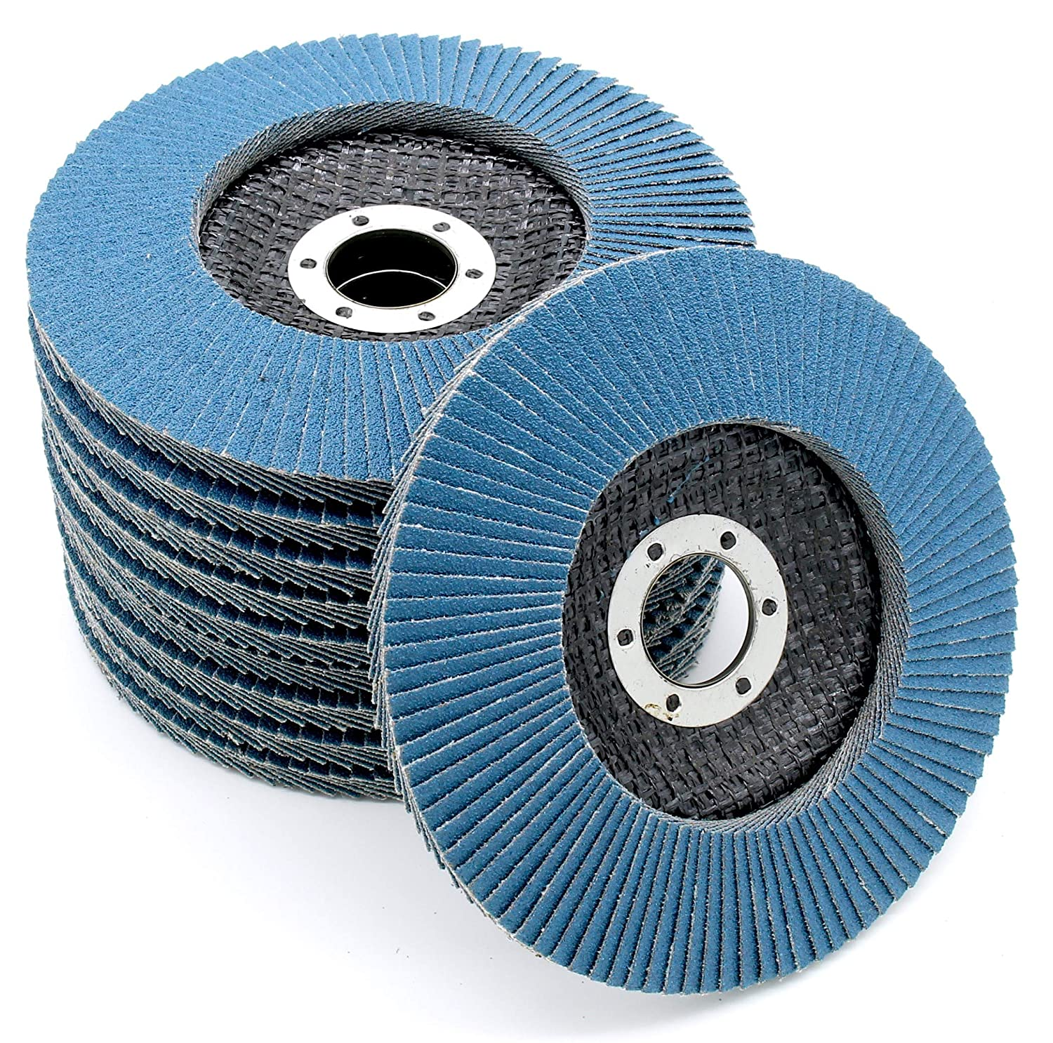 Stainless Steel Flap Discs, 125 mm, 60 Grit, Abrasive Flap Discs - Pack of 10 FD-Workstuff