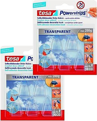 tesa Powerstrips Deco-Haken transparent Packung mit 5 Haken f/ür max 200g