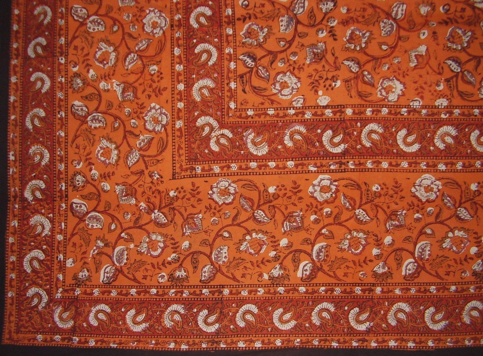 Earth Dabu Block Print Indian Tapestry Cotton Spread 106'' x 88'' Full Orange
