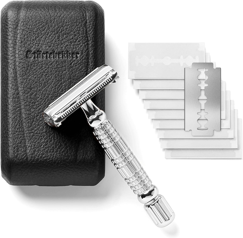 Störtebekker® Maquinilla de afeitar clásica en estuche de cuero hecho a mano [10 hojas Astra] - Cuchilla de afeitar de primera calidad - Set de afeitado con espejo integrado