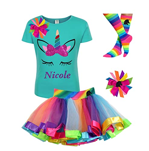 09fbf47f08f9 Amazon.com: Personalized Unicorn Face Shirt Rainbow Horn Tutu Outfit Girls  Birthday 4PC Gift Set: Handmade