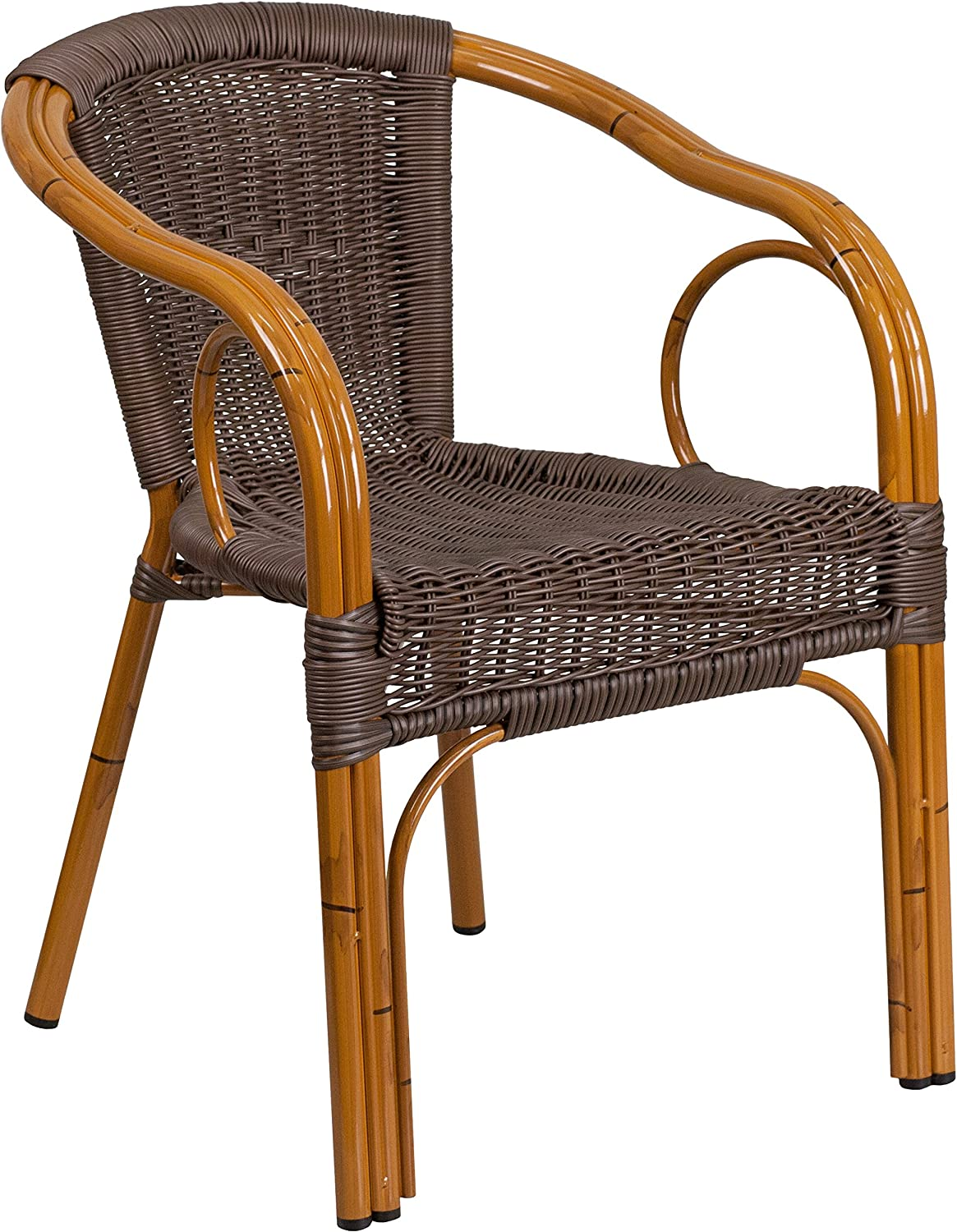 Flash Furniture Cadiz Series Red Bamboo-Aluminum Indoor-Outdoor Restaurant-Patio Chair with Dark Brown Rattan