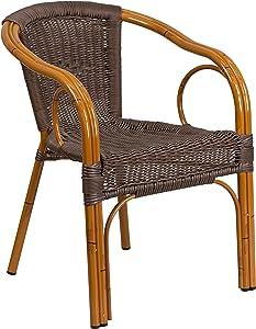 Flash Furniture Cadiz Series Red Bamboo-Aluminum Indoor-Outdoor Restaurant-Patio Chair with Dark Brown Rattan