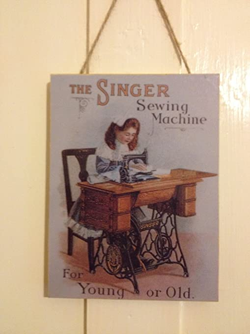 Singer máquina de Coser Vintage para Puerta de Madera con Texto en ...