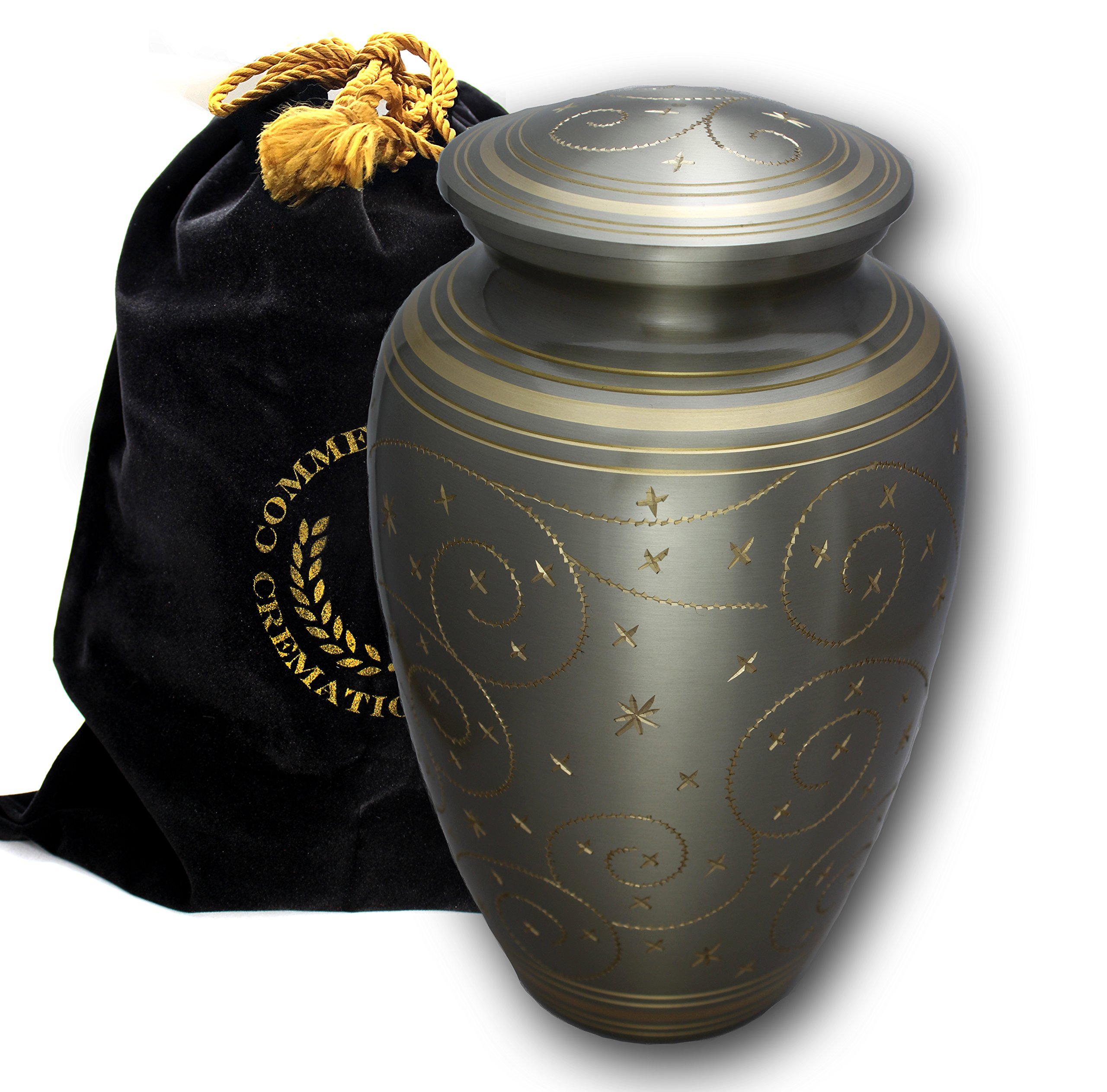 Star Light Brass Metal Funeral Cremation Urn for Human Ashes (Large) by Commemorative Cremation Urns (Image #5)