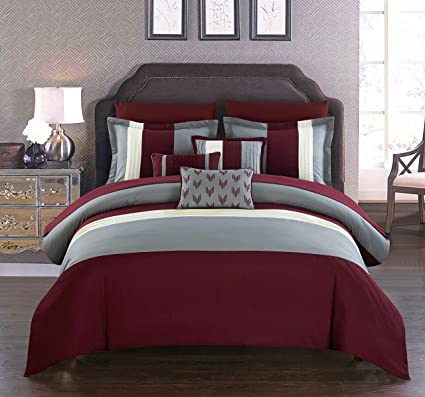 . Chic Home Eyelet 10 Piece Comforter Set Color Block Ruffled Bag  Bedding Decorative Pillows Shams Included  King  Burgundy