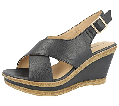 f3d4652e5af Ladies A05 Cushion Walk Wide E Fit Leather Lined Wedge Peep Toe Strappy  Summer Sandal Size