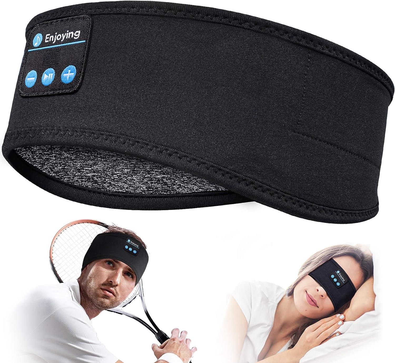Auriculares para Dormir Regalos Originales para Hombre Mujer - Regalos Originales Auriculares Dormir Deportes Diadema Bluetooth, Suave Orejeras para Dormir con Ultrafinos HD Estéreo Altavoces (Black)