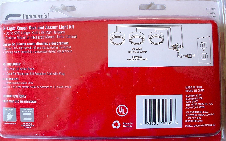 Amazon.com: Commercial Electric 3-Light Under Cabinet Black Puck Kit: Home & Kitchen