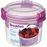 Sistema To Go Collection Breakfast Bowl Food Storage Container, 17.9 Ounce/2.2 Cup, Clear with Assorted Color Accents by Sistema