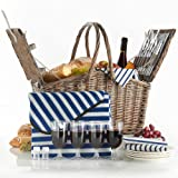 VonShef Deluxe 4 Person Folding Handle Picnic Basket Hamper with Cutlery, Plates, Glasses, Tableware & Fleece Blanket