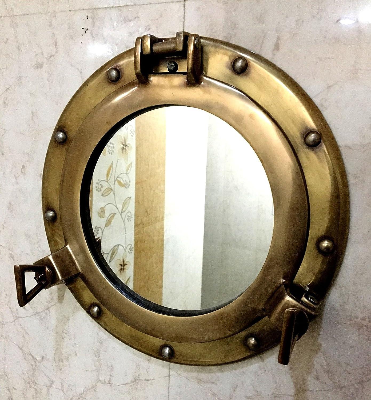 Window Porthole Mirror-Aluminum Ship Porthole~20 inch Nautical Gift Wall Decor