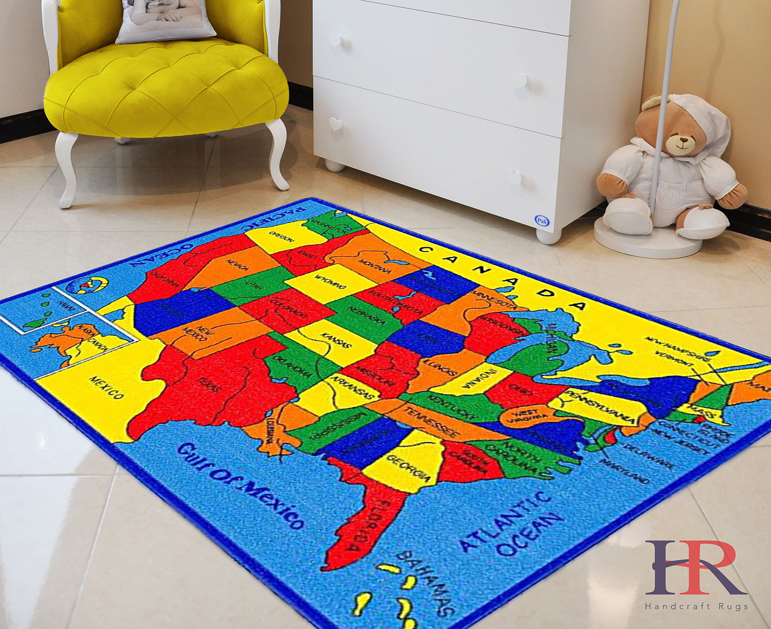 USA Map Kids Educational Play mat for School/Classroom / Kids Room/Daycare/ Nursery Non-Slip Gel Back Rug Carpet-(3 by 5 feet)