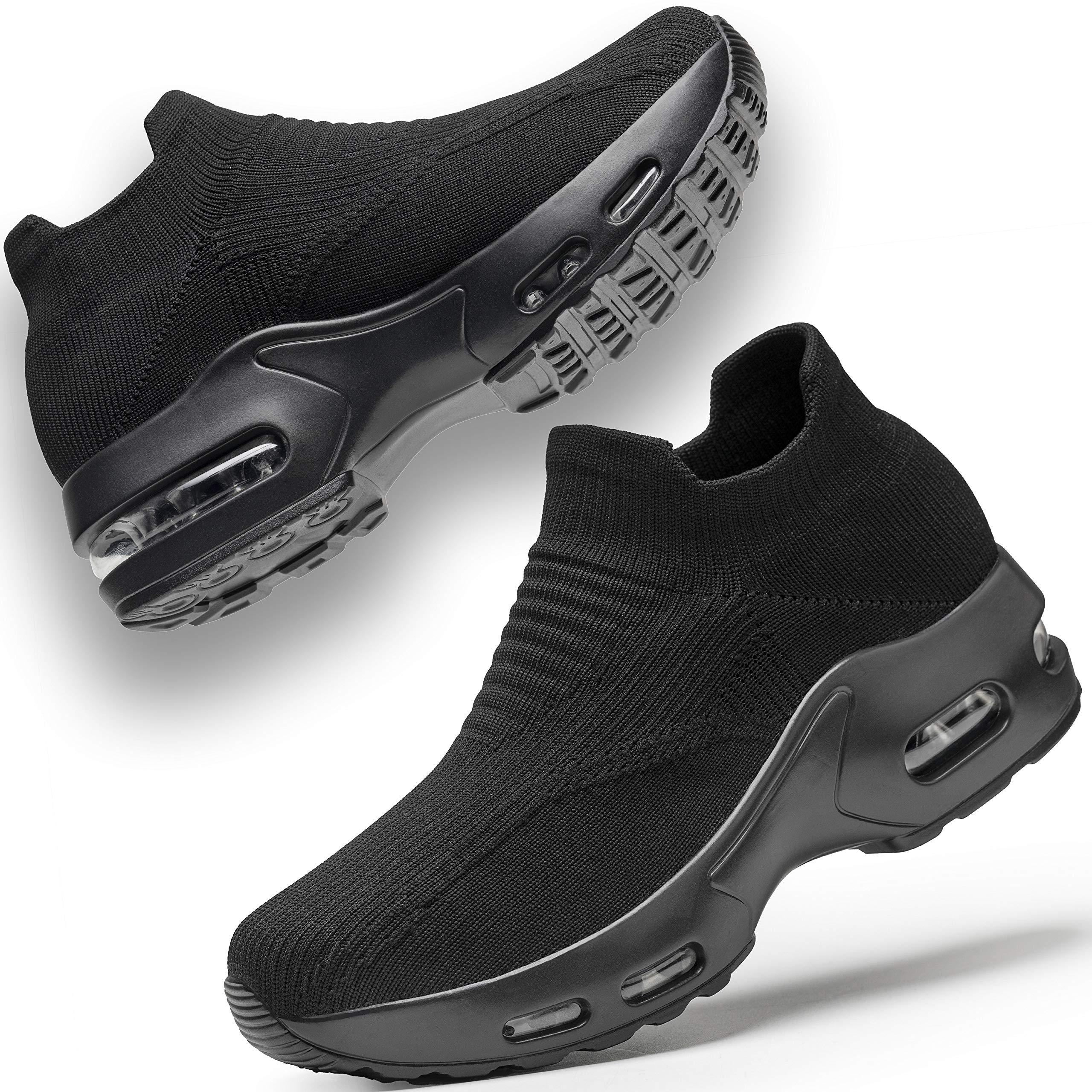 UKUGIJIMA Womens Walking Shoes Slip on Sneaker for Women Platform Lightweight Running Shoe Workout Comfortable Socks Shoes