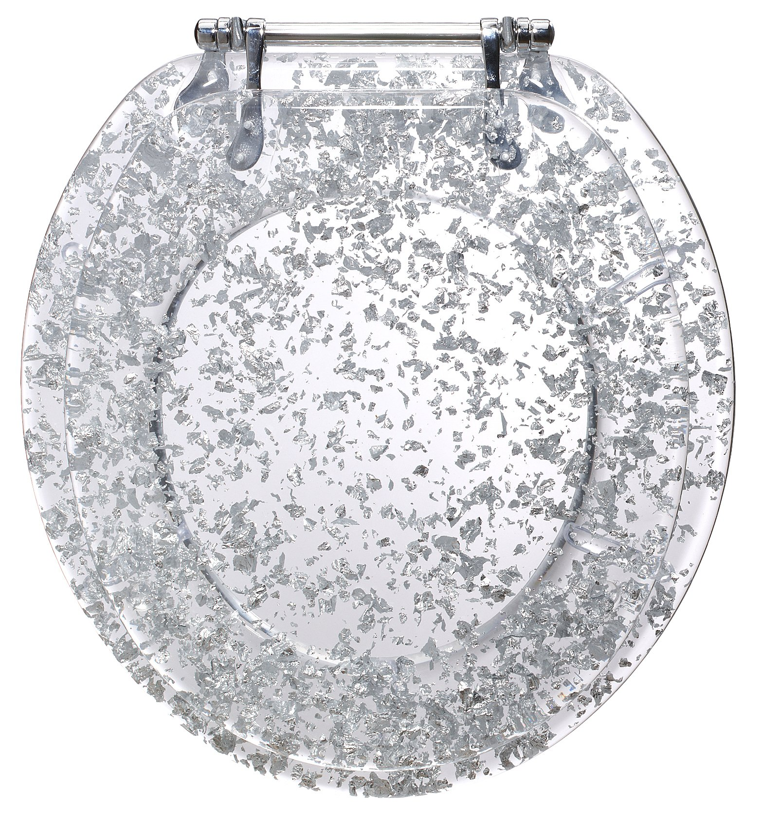 Ginsey Standard Resin Toilet Seat with Chrome Hinges, Silver Foil by Ginsey