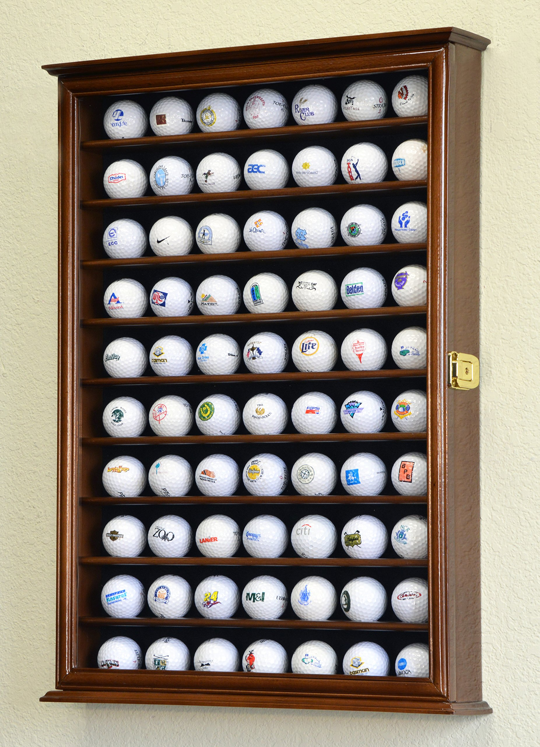 70 Golf Ball Display Case Cabinet Holder Wall Rack w/ UV Protection -Walnut by sfDisplay (Image #1)
