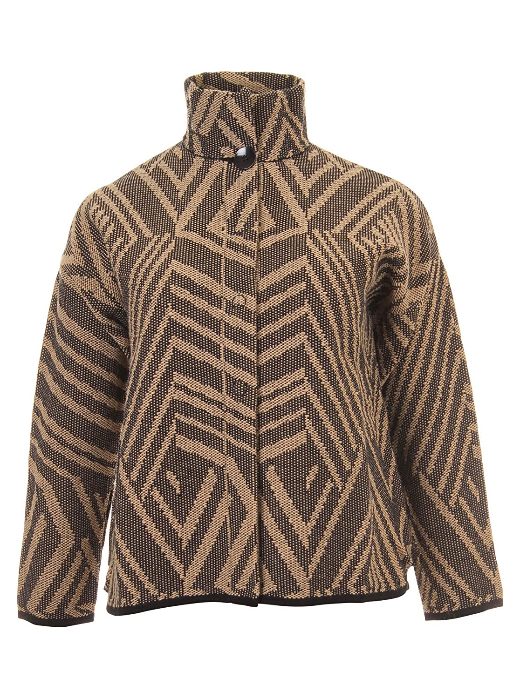 Kurze Jacke mit Muster in beige/braun in Übergrößen (L, M, XL) von Elena Miro