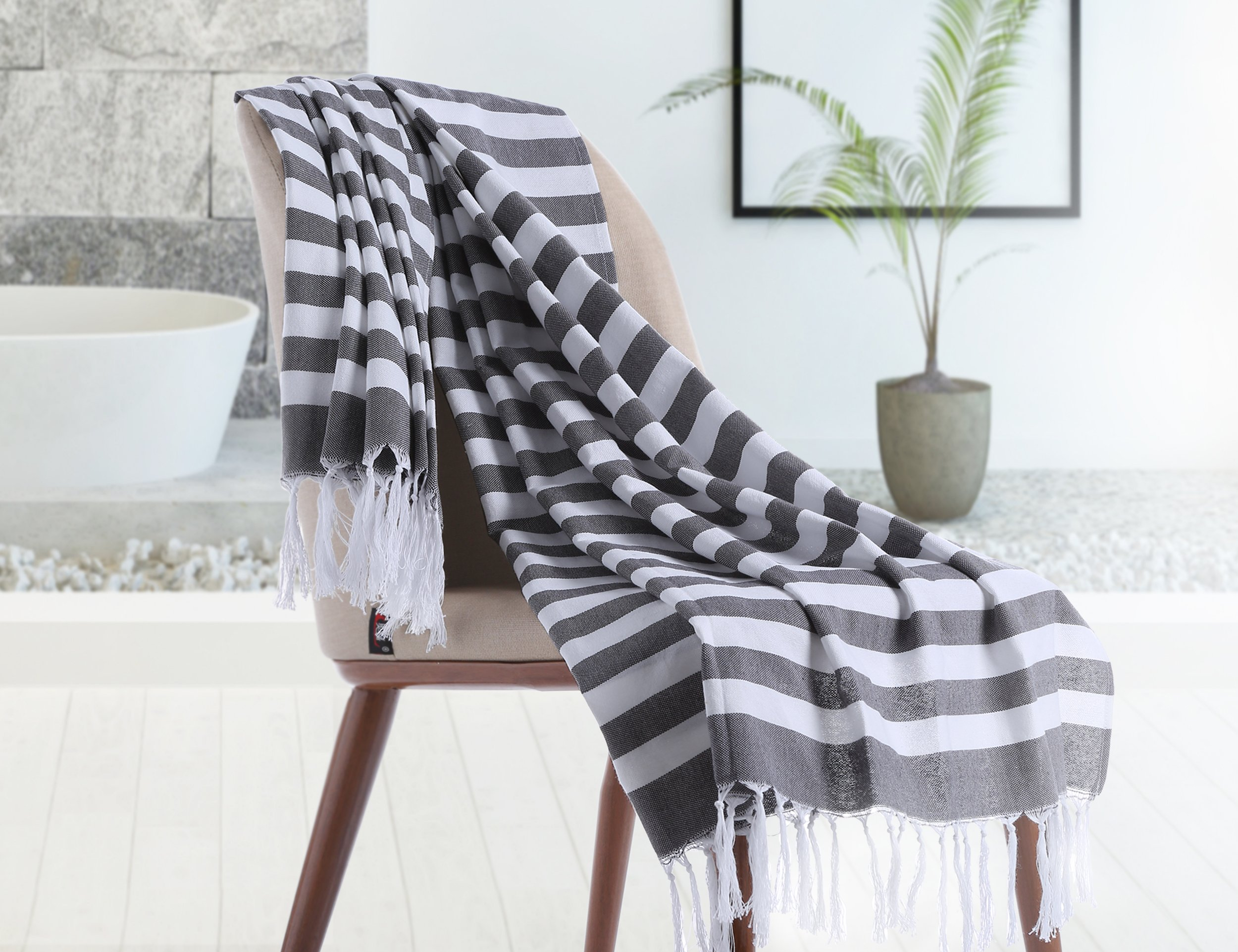 Chama 100% Cotton Extra Soft Striped Peshtemal Fouta Turkish Beach Towels Wrap Bath Towel Oversized Blanket for Baby Home Family Traveling Pool Scarf Towel Absorbency (Black&white stripes) by Chama (Image #3)