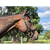Easytrek Anatomical Bitted Cavasson hoofdstel kwaliteit leer met grip teugels, zwart of bruin, Pony Small, BRON