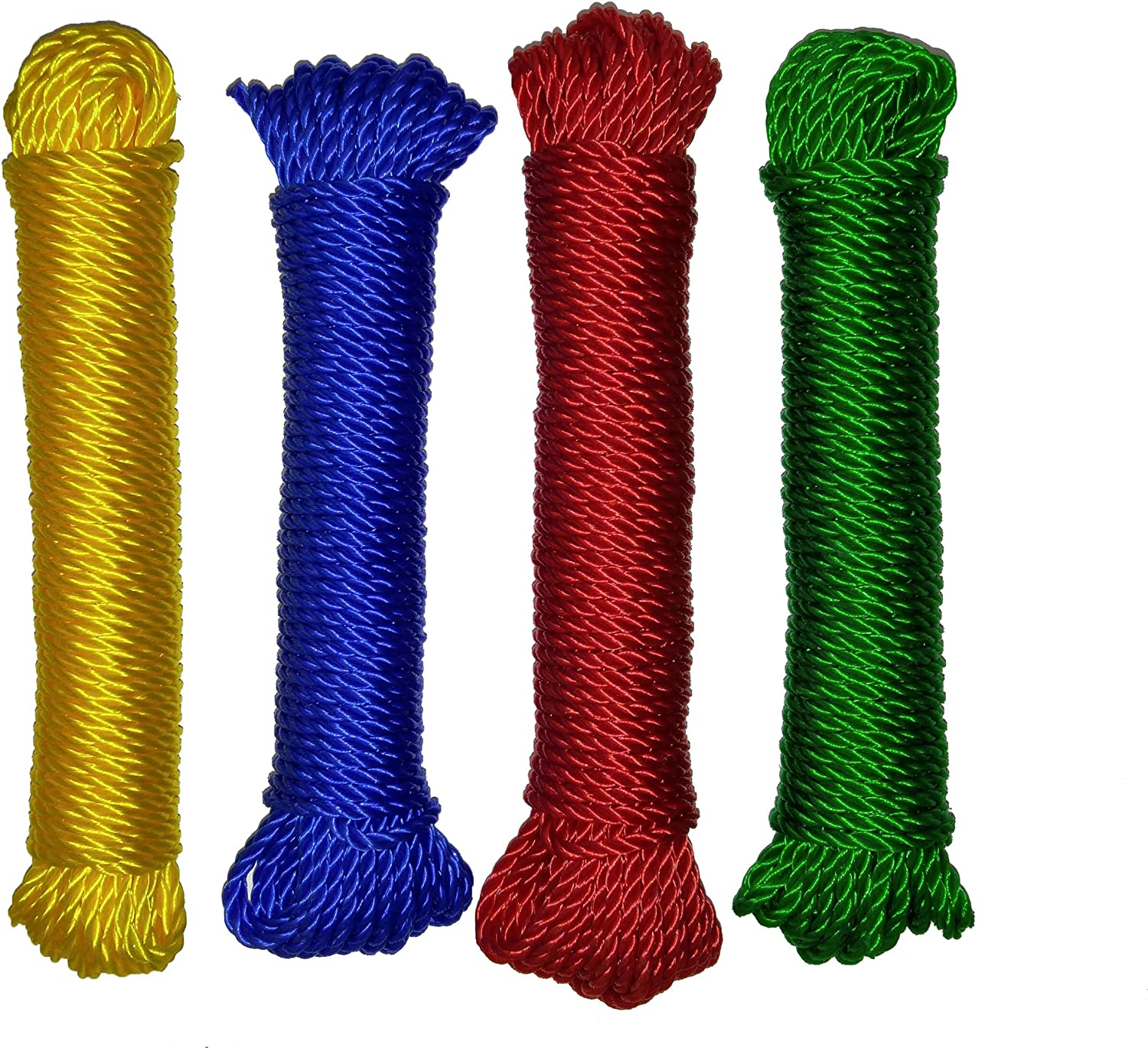 Set of 8 Twisted 5//32 x 50 Polypropylene All Purpose Floating Rope in 4 Colors 5//32 Set of 8