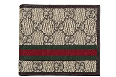 ccd57b4e111b4b Image Unavailable. Image not available for. Colour: Gucci men's wallet coin  case holder purse card bifold gg supreme web brown