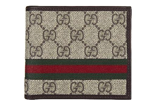 Gucci monedero cartera bifold de hombre nuevo gg supreme web marrón: Amazon.es: Zapatos y complementos