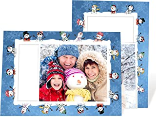 """product image for Holiday Photo Note Cards for 4"""" x 6"""" image 10 Pack with Envelopes (Snowmen Fun)"""