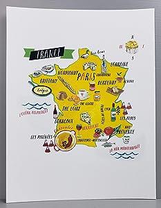 Nancy Nikko French Food Map, Food Regions of France, 8 1/2 x 11