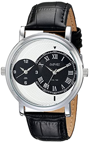 August Steiner Men s AS8146 Dual Time Zone Swiss Quartz Watch with a Round Dial and Leather Strap