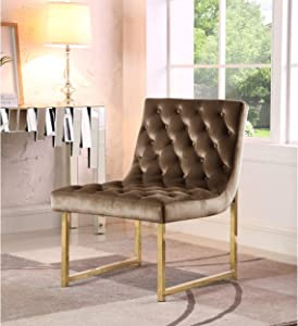 Chic Home Tatiana Tufted Velvet Upholstery Plush Cushion Brass Finished Accent Chair Taupe