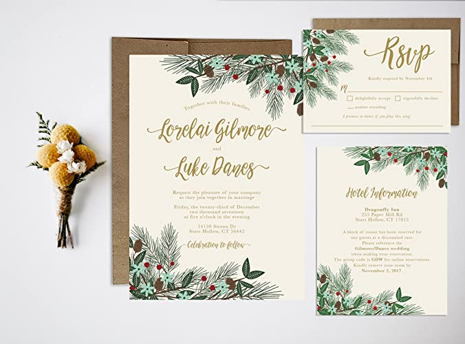 Christmas Wedding Invitations.Amazon Com Winter Christmas Wedding Invitation Set Handmade