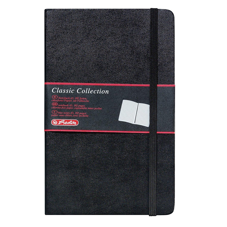 schwarz 96 Blatt DIN A5 liniert Herlitz Notizbuch Farbe in Lederoptik