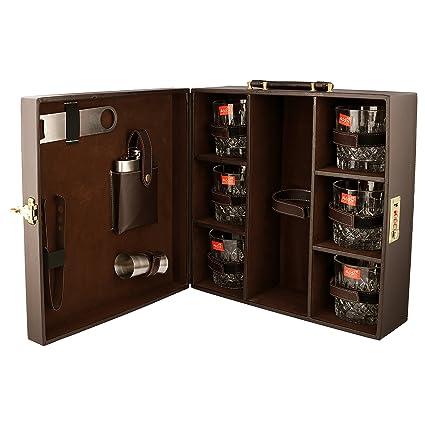 Travel Bar Set   Portable Leatherette Bar Set   Wine Case   Whisky Case    Wooden