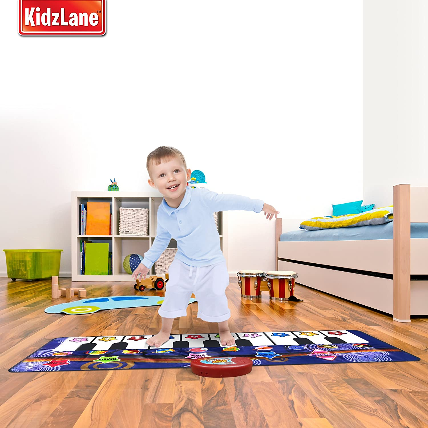 Kidzlane Durable Piano Mat, 10 Selectable Sounds, Play and Record, for Kids 2 to 5, Dance and Learn: Toys & Games