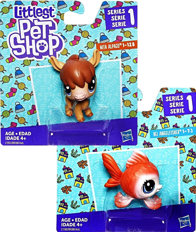 Littlest Pet Shop Series 1 Bobble Head Figures Nita Alpaco 2 Pack /& Rei Angelfisher Gift Set Bundle Alpaca Angelfish
