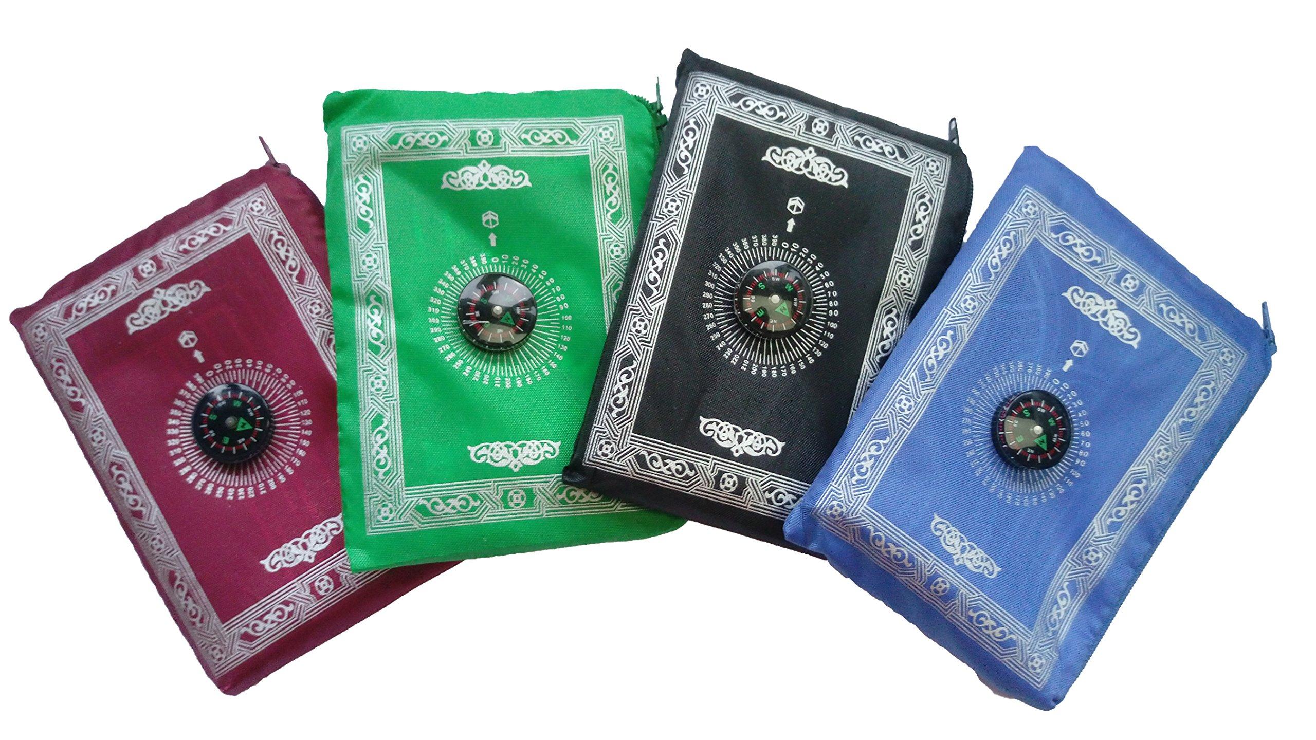 Actopus 4PCS Portable Waterproof Muslim Prayer Mat Light Prayer Rug with Compass Muslim Prayer Rug Qibla Finder Booklet