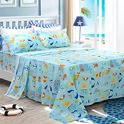 Brandream Kids Bedding Set Blue Ocean Cotton Sheets Set Cartoon Bed Sheet  Set Twin Size