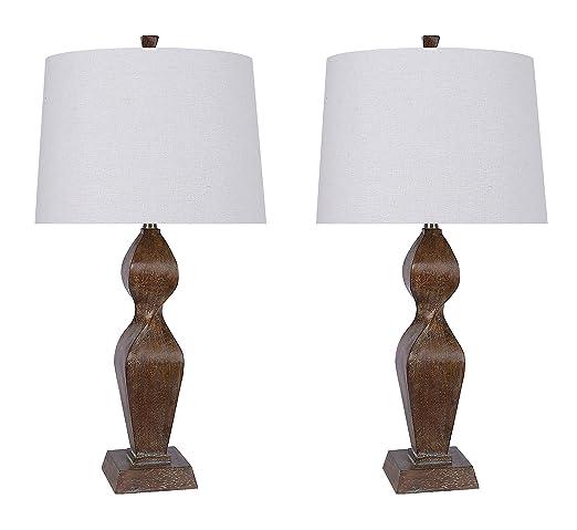 Grandview Gallery 31 5 Distressed Faux Wood Modern Table Lamp Set