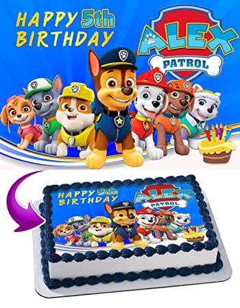Paw Patrol Edible Cake Image Topper Personalized Icing Sugar Paper