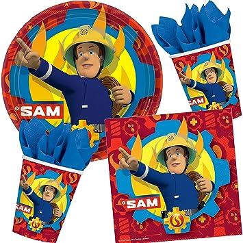 37 piezas Party * bombero Sam * con plato + taza + ...