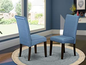 East West Furniture Barry Parson Chair, Cappuccino Finish Solid Wood Leg and Linen Fabric-Blue Color, Set of Two, Light