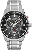 Citizen Men's Eco-Drive Chronograph Watch with a Black Dial and a Stainless Steel Bracelet